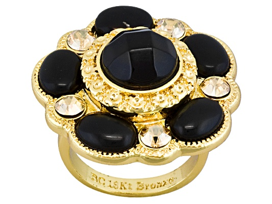 Beria Collection(Tm) Black Onyx & Swarovski Element(Tm) 18k Yg Over Bronze Ring Erv $62.00
