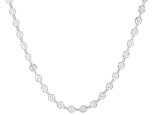 Argentovoge(Tm) Polished Double Cirlce Link Sterling Silver 24 Inch Necklace Made In Italy