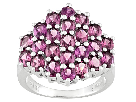 4.88ctw Oval And Round Regal Rajasthan Rhodolite Sterling Silver Ring