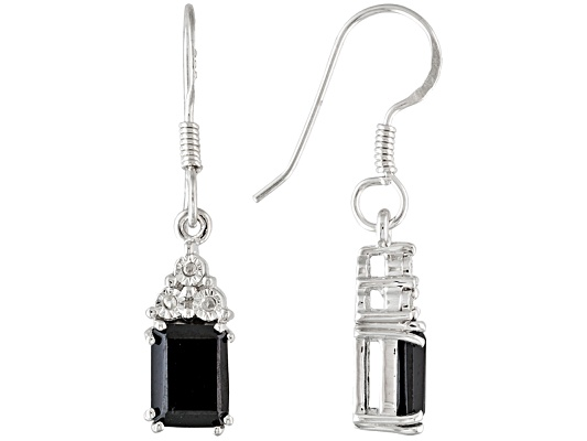 3.20ctw Emerald Cut Black Spinel And Diamond Accent Sterling Silver Earrings