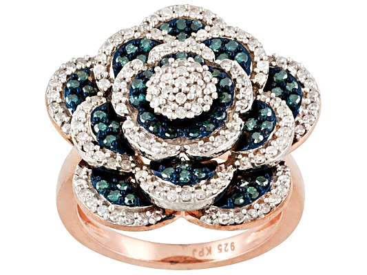 Engild(Tm) 1.00ctw Blue Velvet Diamond(Tm) & White Diamond Rose Aureate(Tm) Flower Ring Eav $525.00