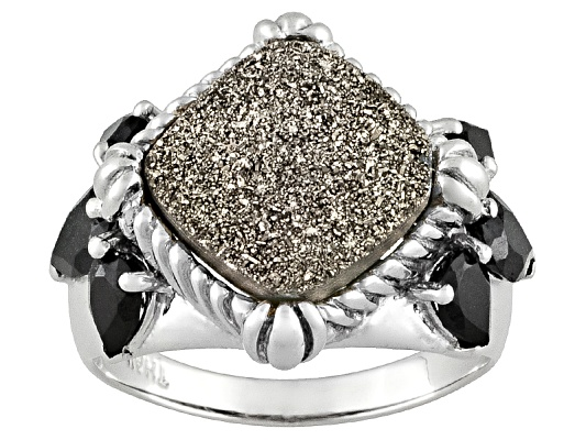 Moon Silver Drusy Quartz And 3.30ctw Black Spinel Sterling Silver Ring Erv $110.00