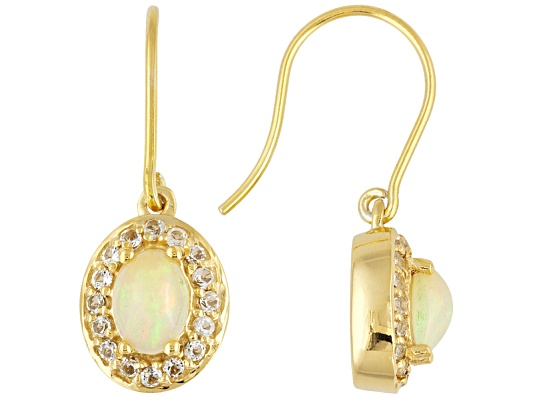 Stratify(Tm) 2.48ctw Oval And Round Ethiopian Opal & White Topaz 18k Yg Over Ss Earrings ...