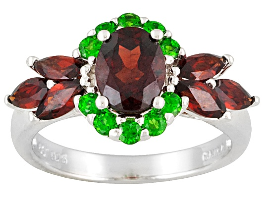 3.04ctw Oval And Marquise Vermelho Garnet And Round Russian Chrome Diopside Sterling Silver Ring