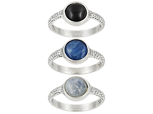 Artisan Collection Of Israel, Rainbow Moonstone,Kyanite And Black Onyx S/S Ring Set Of 3 Erv ...