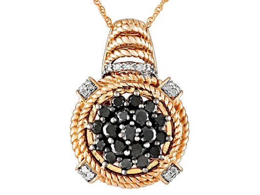 Engild(Tm) 1.00ctw Tuxblack Diamond(Tm) White Diamond Rose Aureate(Tm)Pendant With Chain Eav ...