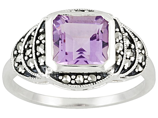 Tillya Treasures(Tm) 2.40ctw Square Amethyst And Marcasite Sterling Silver Ring Erv $105.00