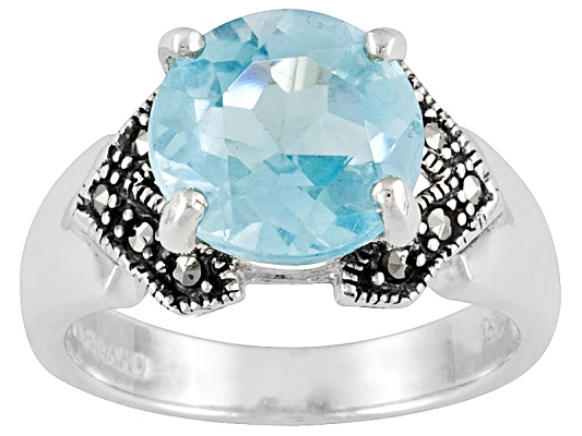 Tillya Treasures(Tm) 2.70 Ctw Round Glacier Topaz(Tm) And Marcasite Sterling Silver Ring Erv ...