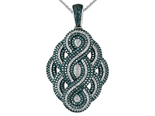 Engild(Tm) .80ctw Blue Velvet Diamond(Tm) & White Diamond Platineve(Tm) Pendant W/ Chain Eav ...