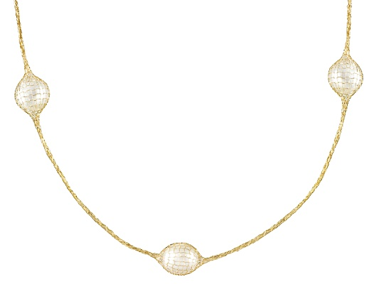 Splendido Oro(Tm) Crochet D' Tuscano(Tm) Cultured Freshwater Pearl 14k Yg 24 Inch Necklace