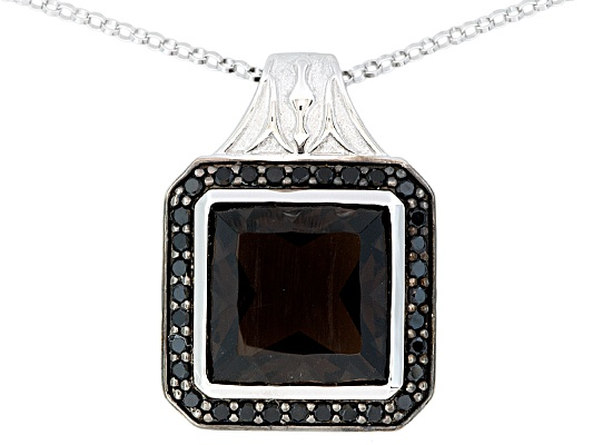Fusion Style By Alice Fu(Tm) 7.69ctw Smoky Quartz & Black Spinel Platineve(Tm) Pendant With ...