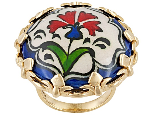 Artisan Gem Collection Of Turkey, Hand Painted Ceramic 18k Y/G Over Bronze Ring Erv $111.00 ...