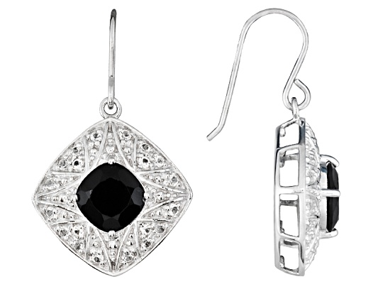 5.00ctw Square Cushion Black Spinel And 1.02ctw Round White Topaz, Sterling Silver Earrings