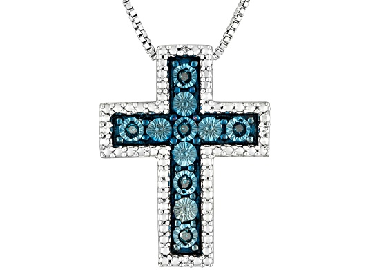 Monture Diamond Collection(Tm) Blue Velvet Diamond & White Diamond Accent Rhodium Over S/S Pendant