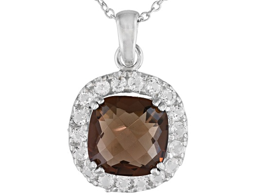 3.95ct Cushion Checkerboard Smoky Quartz And .90ctw Round White Topaz S/S Pendant With Chain