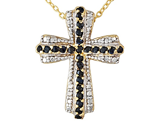 .75ctw Round Blue Sapphire And Diamond Accent 18k Yg Over Bronze Cross Pendant With Chain ...