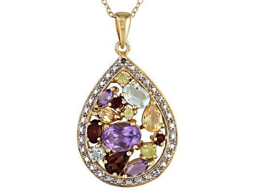3.75ctw Multi Color Gem 18k Yellow Gold Over Bronze Pendant With Chain