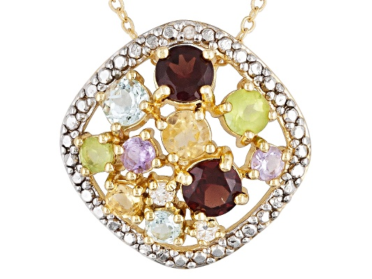 2.78ctw Round Multi Color Gem And Diamond Accent 18k Yg Over Bronze Pendant With Chain ...