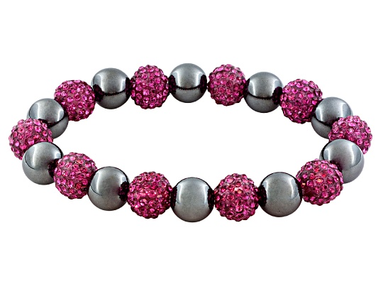 125.00ctw Reconstituted Hematite And 42.50ctw Fuschia Pave Crystal Bead Stretch Bracelet.