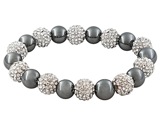 125.00ctw Reconstituted Hematite And 42.50ctw White Pave Crystal Bead Stretch Bracelet.