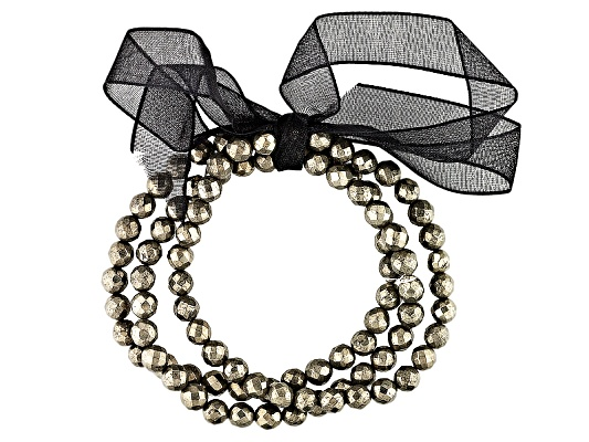 271.56ctw Round Faceted Pyrite Bead Stretch Bracelet.Set Of 3 Erv $62.00