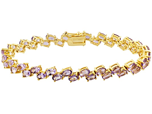 9.89ctw Oval Brazilian Amethyst 18k Yellow Gold Over Bronze Bracelet