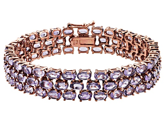 20.90ctw Oval Brazilian Amethyst 18k Rose Gold Over Bronze Bracelet