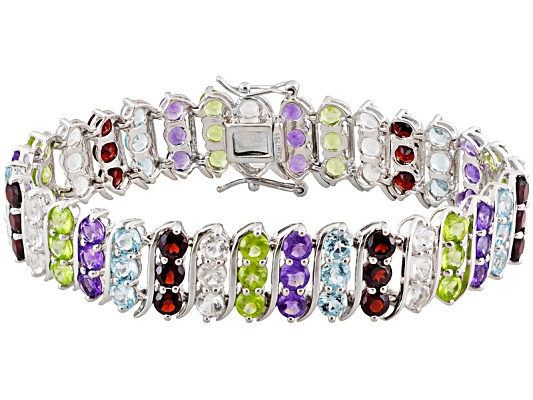 28.50ctw Multi Color Gem Sterling Silver S Bar Bracelet Eav $375.00