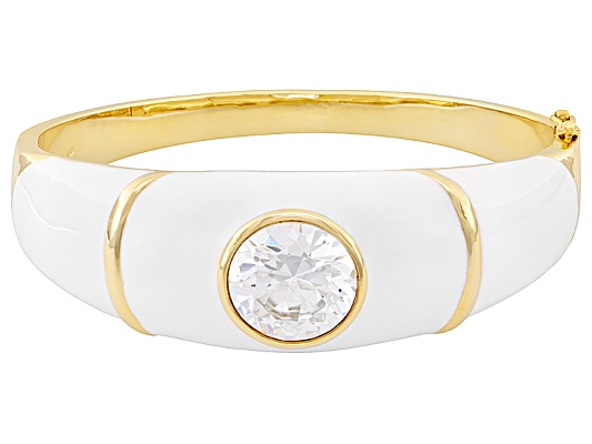 Dynasty Jewelry Collection (Tm) 17.00ct White Diamond Simulant 10k Yellow Gold Over Bronze Bangle