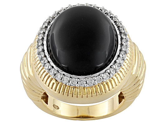 Dynasty Jewelry Collection (Tm) Black Onyx & .48ctw Diamond Simulant 10k Yg Over Bronze Ring ...