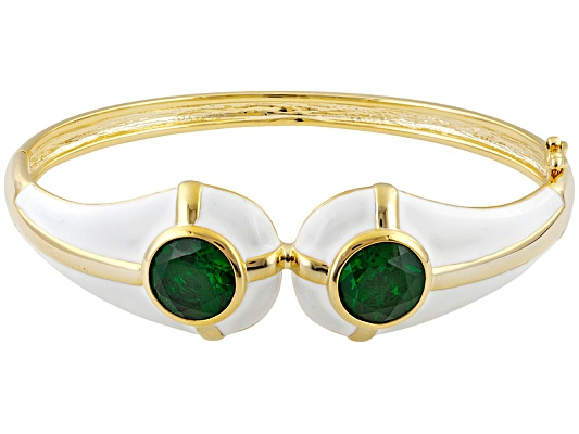 Dynasty Jewelry Collection (Tm) Green Glass 10k Yellow Gold Over Bronze Bangle