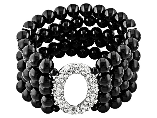 Off Park Collection, Black Bead And Crystal Multi Strand Bracelet