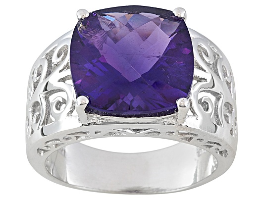 5.30ct Cushion African Amethyst Sterling Silver Ring