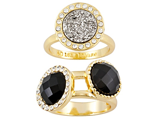 Beria Collection(Tm) 7.14ctw Multi Gem & Swarovski Element(Tm)18k Yg Over Bronze Ring Set Erv ...