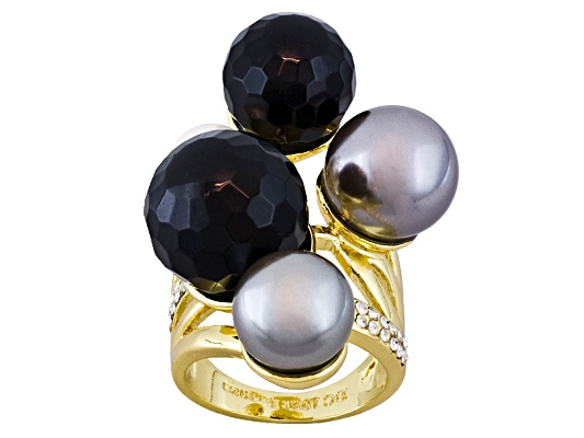 Beria Collection(Tm) Onyx & Swarovski Element(Tm) Multi Gem 18k Y/G Over Bronze Ring Erv $70.00 ...