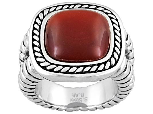 Altered Style By Brett Alt(Tm) Square Cabochon Red Agate Stainless Steel Rope Ring