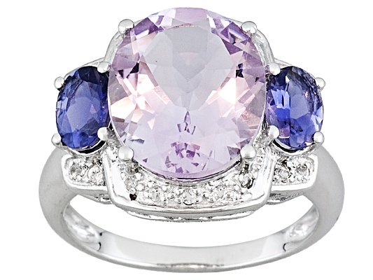 6.15ctw Oval Rose De France Pink Amethyst & Oval Iolite With White Topaz Accent Ring ...