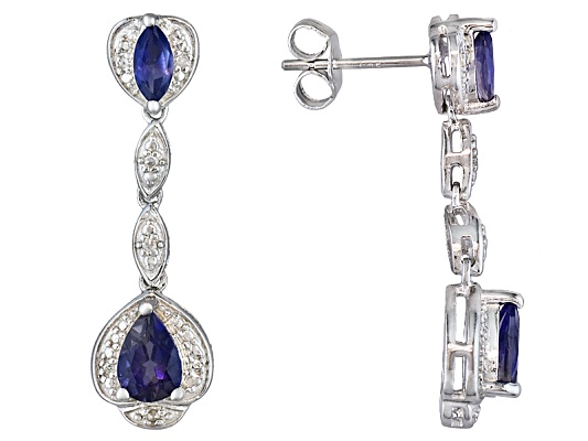 1.37ctw Pear Shape And Marquise Iolite With Round White Diamond Accent Sterling Silver Earrings