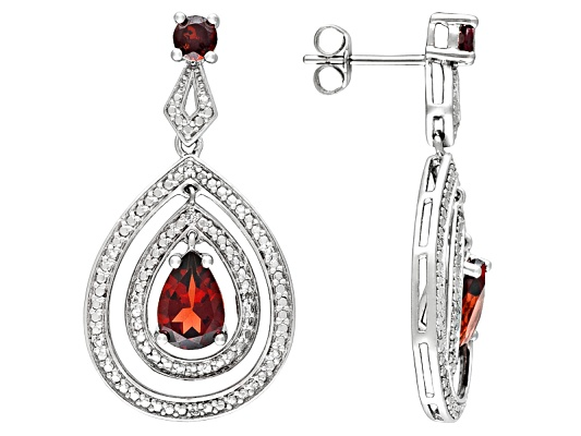 Vermelho Garnet(Tm) 3.48ctw Pear Shape & Round With Round White Topaz Accent S/S Earrings