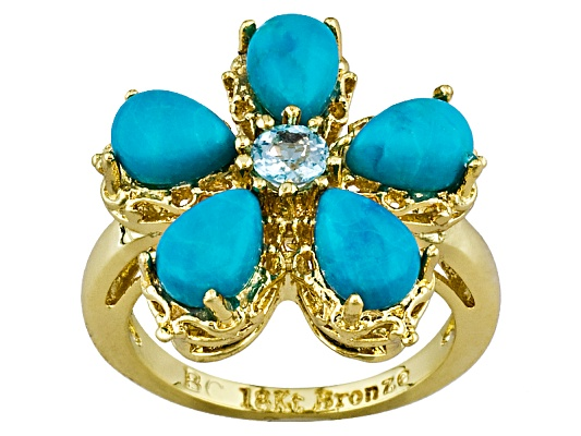 Beria Collection(Tm) Cabochon Turquoise & .30ct Blue Topaz 18k Yg Over Bronze Ring Erv $72.00 ...