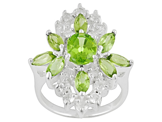 3.64ctw Oval And Marquise Manchurian Peridot(Tm) With .84ctw Round White Topaz Sterling Silver Ring