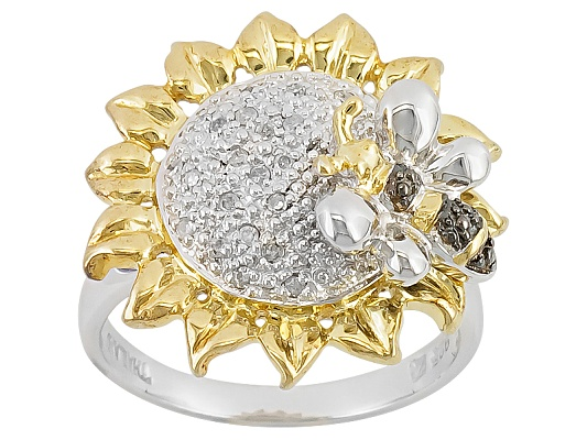 Diamond .10ctw Round Rhodium And 14k Yellow Gold Over Sterling Silver Flower And Bumblebee Ring ...