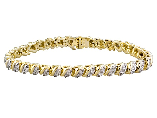 Diamond .50ctw Round 18k Yellow Gold Plating Over Sterling Silver Bracelet Erv $325.00