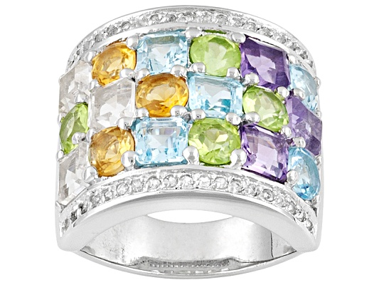 8.06ctw Square And Round Multi Color Gem Sterling Silver Ring