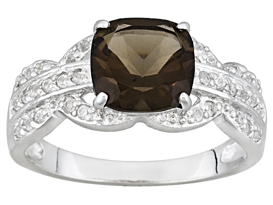 2.00ct Cushion Smoky Quartz & .42ctw Round White Topaz Sterling Silver Ring