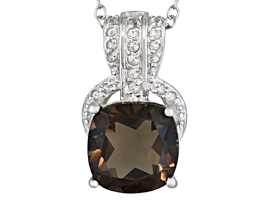 2.90ct Cushion Smoky Quartz And .15ctw Round White Topaz Sterling Silver Pendant With Chain