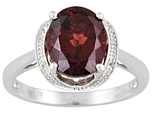Vermelho Garnet(Tm) 3.78ctw Oval And White Topaz Accent Sterling Silver Ring
