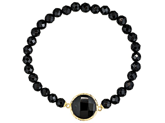 Stratify(Tm) Round Bead Faceted Black Agate 18k Yellow Gold Over S/S Stretch Bracelet Erv ...