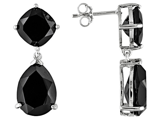 Black Spinel 14.00ctw Pear Shape And Cushion, Rhodium Over S/S Dangle Earrings Eav $100.00