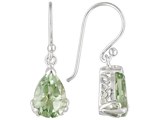 3.00ctw Pear Shape Prasiolite Sterling Silver Dangle Earrings